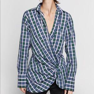 NEW| ZARA 100% Cotton Plaid Shirt